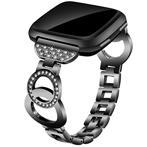 Compatible for Fitbit Versa/Versa Lite Edition/Versa Special Edition, VOMA Stainless Steel Metal Bands Bracelet Strap for All Fitbit Versa Edition Bangle Black