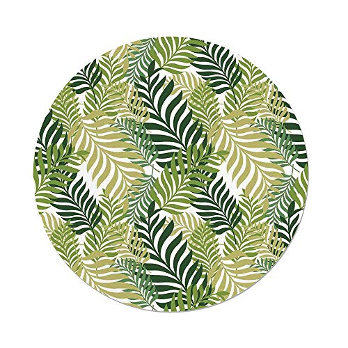 Polyester Round Tablecloth,Leaves,Tropical Exotic Palm Tree Leaves Natural Botanical Spring Summer Contemporary Graphic,Green Ecru,Dining Room Kitchen Picnic Table Cloth Cover,for Outdoor Indoor