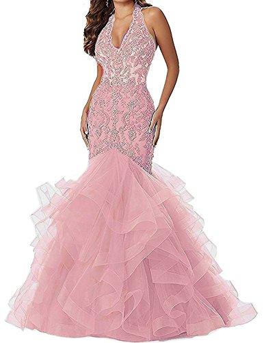 Women's V Neck Applique Beaded Mermaid Prom Dress Halter Formal Gown (Halter Ruffled Evening Gown)