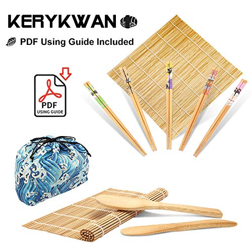 Bamboo Sushi Making Kit-2 Carbonized Bamboo sushi Rolling Mats,5 Pairs Chopsticks,1 Rice Paddle,1 Rice Spreader,1 Storage Bag-Complete Sushi Maker for Beginner-Beginner Guide PDF Included (Blue wave) (Best Rice For Sushi Rolls)
