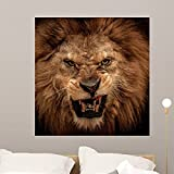 Wallmonkeys Close-up Shot Roaring Lion Wall Mural Peel and Stick Graphic (36 in H x 35 in W) WM104655