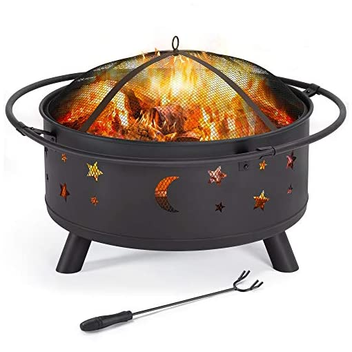 Fire Pits Yaheetech 30″ Outdoor Fire Pit, Metal Firepit Bonfire Wood Burning Heater Stove Backyard Patio Garden Firepit for Outside with Spark Screen and Fireplace Poker, Stars and Moons Design Pattern firepits