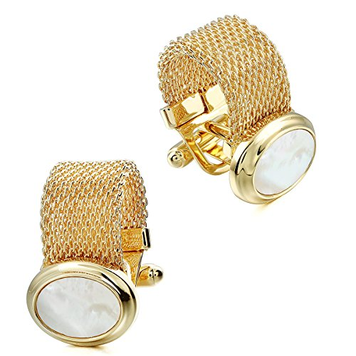 HAWSON Mens Cufflinks with Chain - Stone and Shiny Gold Tone Shirt Accessories - Party Gifts for Young ()