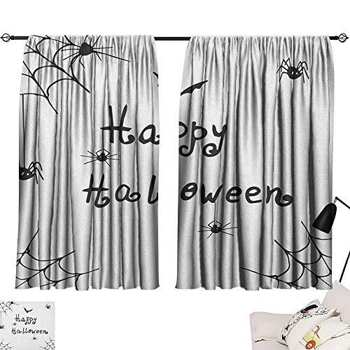 Window Curtain Drape Spider Web,Happy Halloween Celebration Monochrome Hand Drawn Style Creepy Doodle Artwork, Black White 72