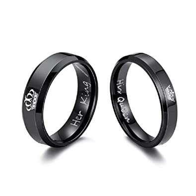 ee12f5234f Impression Black 2Pcs His Queen Her King Titanium Stainless Steel Couple  Rings, King/Queen Rings Wedding Engagement Promise Rings for Men and Women:  ...