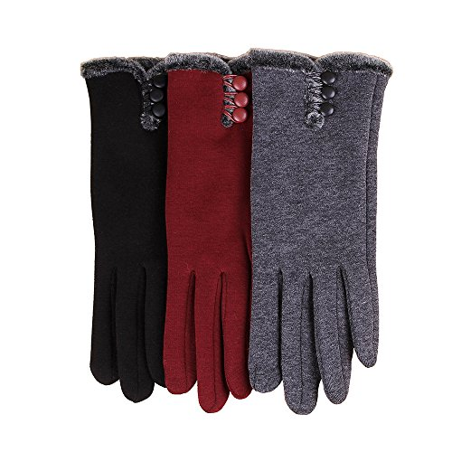 Women Warm Fleece Lining Touch Screen Texting Winter Gloves (Black, One Size)