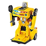 Electric Transformer Robot Car Toy with Realistic Engine Sound and Beautiful Flas Light 1 Button Transforming for Kids Deformable Car Robot (Yellow,Without Controller)