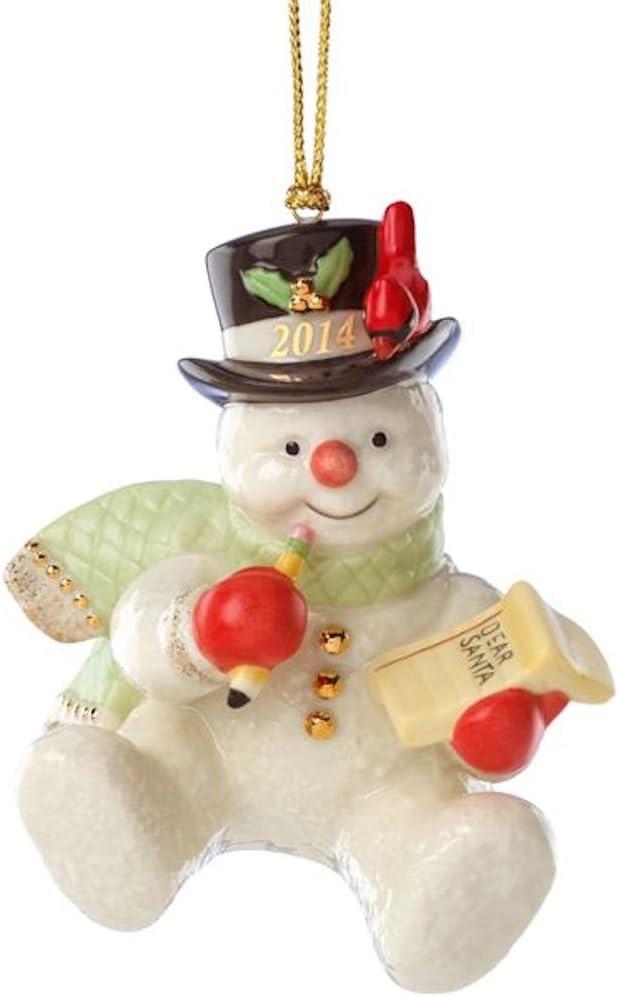 NO BOX LENOX 2011 annual SNOWMAN ORNAMENT SNOWBOARDING Mint NEW