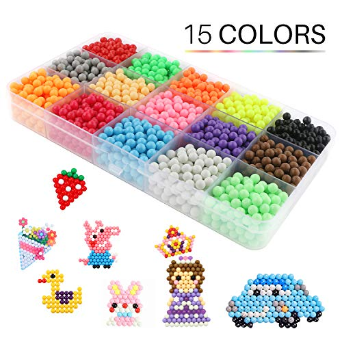 Water Spray Beads Set Water Sticky Beads,15 Colors 2400 Sticky Beads, DIY Pegboard and Full Set Accessories Fun Craft Beads for Kids Magic Water Sticky Beads DIY Art Crafts Toys for Kids (Aqua Water Beads)