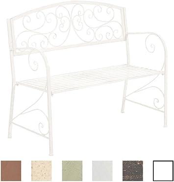CLP Banc de Jardin en Fer Forgé Azad - Banquette de Jardin au Style  Rustique - Mobilier de Jardin ou de Terrasse 2 à 3 Places - Couleur: Blanc  Antique