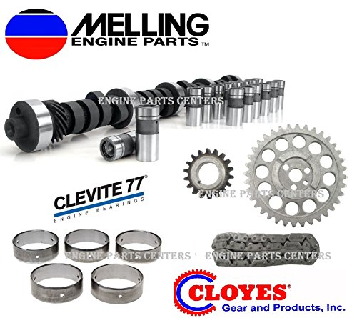 STOCK Cam & Lifter Kit with Timing Chain & Cam Bearings compatible with 1969-1980 Chevy Chevrolet 350 (ALL STOCK)