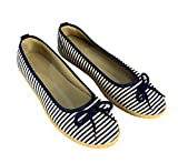 Peach Couture Womens Casual Striped Slip On Flat Espadrilles Bow Ballet Flats Shoes Navy 6.5 B(M) US