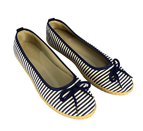 Peach Couture Womens Casual Striped Slip On Flat Espadrilles Bow Ballet Flats Shoes Navy 7 B(M) ()