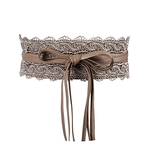 Women's Bowknot Faux Leather Wrap Around Self Tie Obi Cinch Waist Band Boho Belt Khaki - Leather Cinch Belt