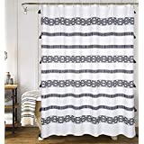 YoKii Extra Long Shower Curtain, 84-Inch Black and Cream Striped Boho Fabric Bathroom Shower Curtain Sets with Tassels, Heavy