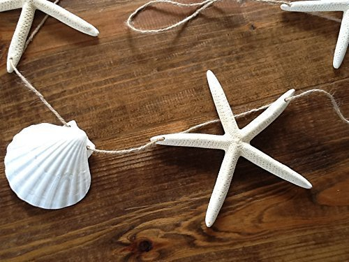 46-or-8-Large-White-Finger-Starfish-Scallop-Shell-Garland-Coastal-Seashell-Mantle-Beach-Home-Wedding-Wall-Decor