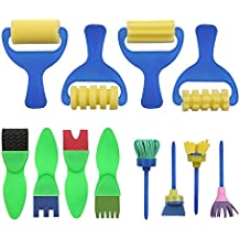 YGDZ 12 Pack Early Learning Mini Flower Sponge Painting Brushes Craft Brushes Set for Kids