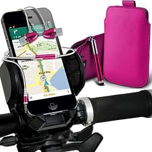 Sony Xperia Z1 compacto premium protección pu Tire Leather Slip Tab Cable En caso de la cubierta de la piel de la bolsa de bolsillo, superior de la calidad en auriculares de botón estéreo de manos libres de auriculares Auriculares con micrófono Mic y botón de encendido y apagado, retráctil Sylus pluma y universal de bicicletas Bike Mount Soporte Holder Soporte Cuna manillar Soporte rotación de 360 ??grados de las rosas fuertes por Spyrox