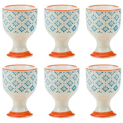 (Nicola Spring Patterned Egg Cups - Blue/Orange Print Porcelain Breakfast Set - Pack of 6)