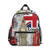 ZZKKO Retro Vintage Union Jack London Bigben Kids Backpack Pre-School Bag for Kindergarten Toddler Boy Girls