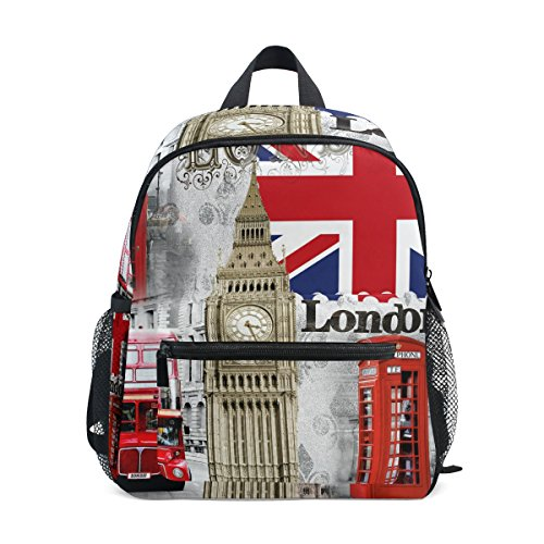 Retro Union - ZZKKO Retro Vintage Union Jack London Bigben Kids Backpack Pre-School Bag for Kindergarten Toddler Boy Girls