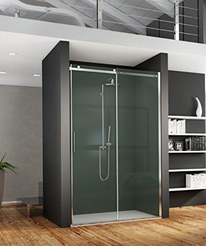 Mampara de ducha deslizante Axer con acceso de cara de cristal transparente o gris ahumado de 8 mm: Amazon.es: Bricolaje y herramientas