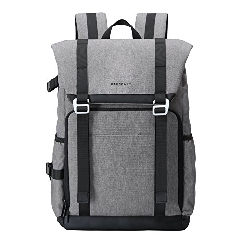 BAGSMART Camera Backpack for SLR/DSLR Cameras & 15' Laptop with Waterproof Rain Cover & Tripod Holder, Grey