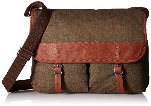 Fossil Men's Buckner Leather Trim Messenger Bag, Olive/Brown, One Size