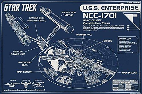 Buyartforless Star Trek USS Enterprise Blueprint NCC-1701 Heavy Cruiser Constitution Class 36x24 Art Print Poster Wall Decor
