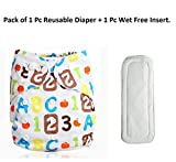 HOME CUBE Adjustable Reusable Baby Washable Printed Cloth Diaper Nappies With 1 Pc Wet-free inserts For Babies of Ages 0 to 2 years.