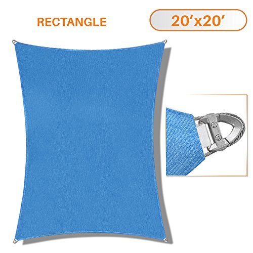 TANG Sunshades Depot A Ring Design Steel Cable Wire Reinforcement Sun Shade Sails 20 x 20 Square Blue Heavy Duty Permeable 260 GSM