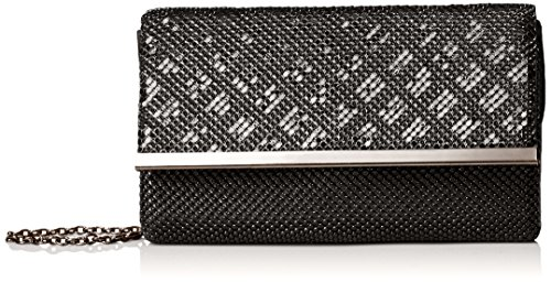 la-regale-mesh-pattern-flap-clutch-black-one-size