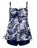 Septangle Women's Two Piece Pin up Ruffle Floral Print Swimsuits (Navy and White,US 26)