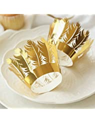 YOZATIA 60PCS Gold Cupcake Wrappers,Laser Cut Feather Cupcake Liner, Boho Party Decoration for Indian Wedding Favor Tribal Party Wild One Decoration(Gold)