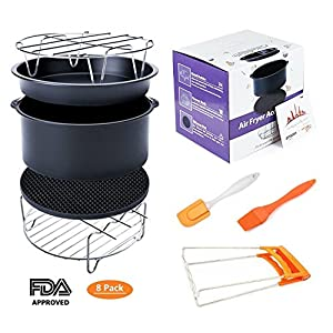 Deep Fryers Universal Air Fryer Accessories Including Cake Barrel,Baking Dish Pan,Grill,Pot Pad, Pot Rack with Silicone Mat by Bellagione (8 Pcs)