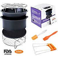 Deep Fryers Universal Air Fryer Accessories Including Cake Barrel,Baking Dish Pan,Grill,Pot Pad, Pot Rack with Silicone Mat by Bellagione (8 Pcs) (8Pcs)