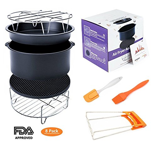 Deep Fryers Universal Air Fryer Accessories Including Cake Barrel,Baking Dish Pan,Grill,Pot Pad, Pot Rack with Silicone Mat by Bellagione (8 Pcs) (8Pcs) by Bellagione