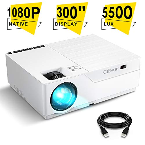 Projector, CiBest Native 1080p LED Video Projector 5500 Lux, 300 Inch Image Display Ideal for PPT Business Presentations Home Theater, Compatible with HDMI,VGA,USB,Fire TV Stick,Laptop,PS4,Xbox (Led Video Projector Screen)
