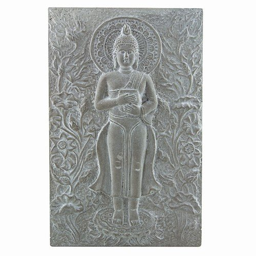 """BUDDHA WITH OFFERING BOWL PLAQUE CAST 8.75x13.75""""h"""