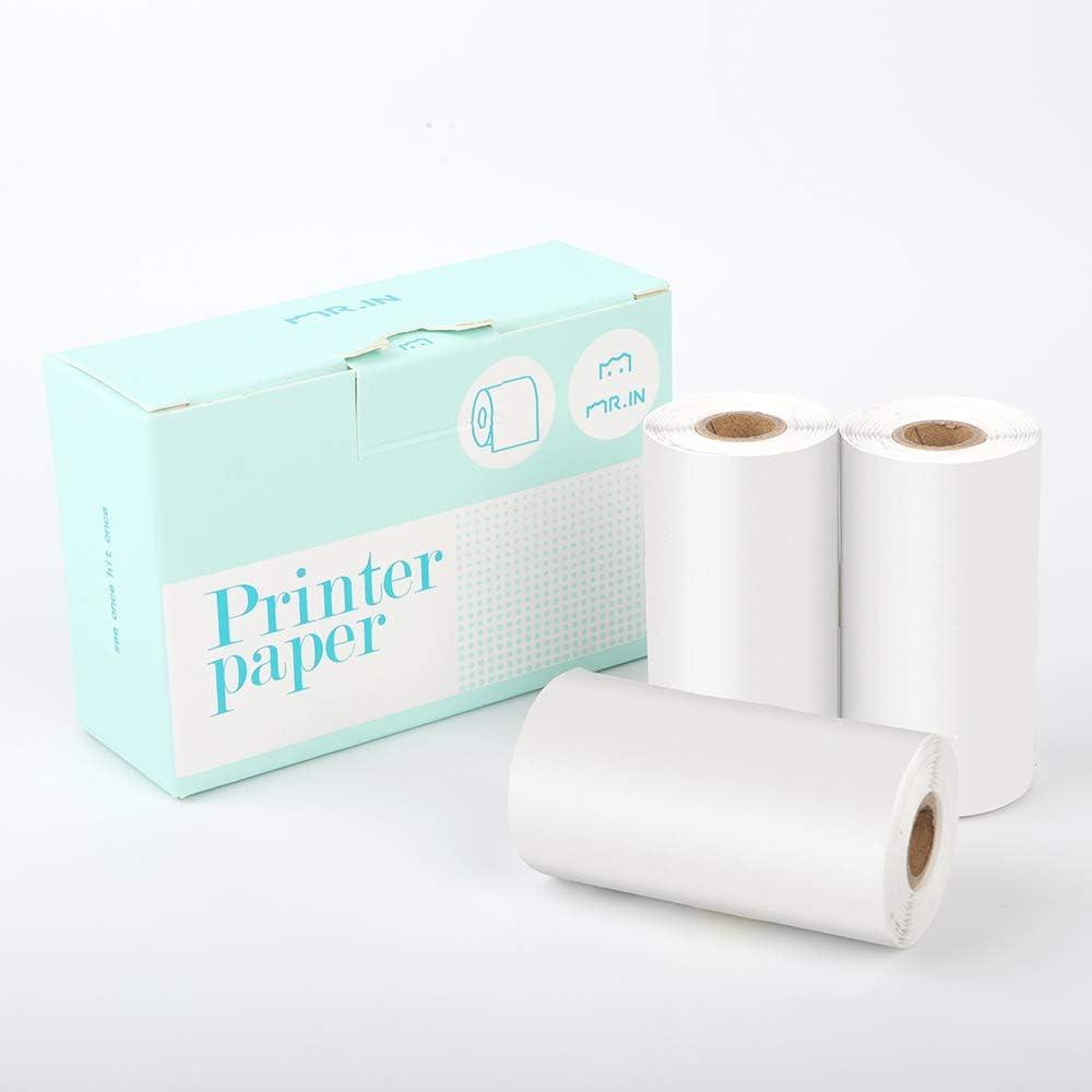 Phomemo White Self-Adhesive Thermal Paper, Glossy White Sticker Paper for Phomemo-M02/M02S Bluetooth Pocket Mobile Printer, 53mm x 3.5m, Diameter ...