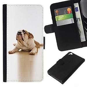 All Phone Most Case / Oferta Especial Cáscara Funda de cuero Monedero Cubierta de proteccion Caso / Wallet Case for HTC Desire 820 // English British Bulldog White Canine Dog