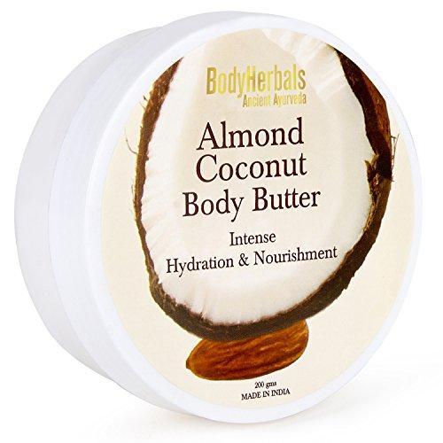 BodyHerbals Ancient Ayurveda Almond Coconut Body Butter, Intense Hydration & Nourishment 7.76 oz