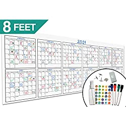 "Large Dry Erase Wall Calendar - 36"" x 96"" – Premium Giant Jumbo Blank 2018-2019 12 Month Reusable Oversized Erasable Undated Calendar Annual Planner for Business, Students & Human Resources Office"