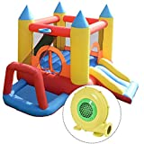 Costzon Inflatable Bouncer Jumping Castle Moonwalk Slide Bounce Play House With 480W Blower
