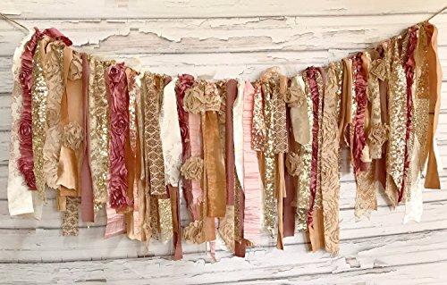 Rose and Gold Blush Shabby Chic Rag Tie Garland: ~ Photo Shoot ~ Wedding ~ Birthday ~ Nursery ~ Bridal Shower ~ Highchair Banner ~ Gender Reveal Parties ~ Decorations ~ Wall Decor! (4 FEET) ()