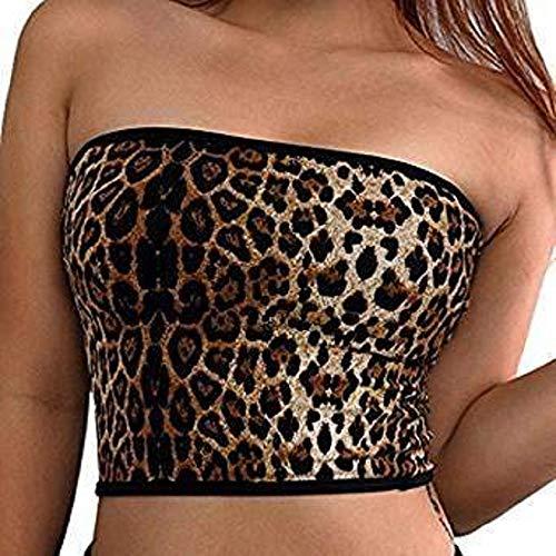 Aimeio Women Sexy Strapless Leopard Tank Crop Bandeau Tube Tops T-Shirt Vest Off Shoulder