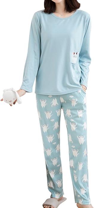 1a634568d3f2 comMyFav Big Girls  Cute Cats Pajamas Long Sleeve Casual Sleepwear  Loungewear Set