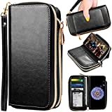 OnePlus 6T Wallet Case, ELV [PU Leather] Premium Detachable 2in1 Folio Purse Credit Card Flip Case with Card Slots and Stand for OnePlus 6T (Black)