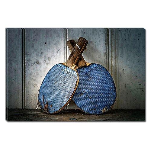 Startonight Canvas Wall Art Blue Ping Pong Paddle, Dual View Surprise Artwork Modern Framed Ready to Hang Wall Art 100% Original Art Painting 31.5 x 47.2 inch by Startonight