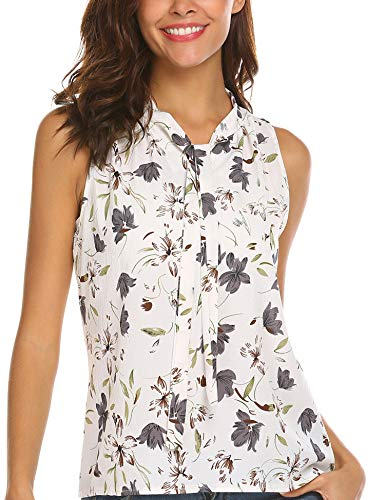 Mofavor Women's Summer Sleeveless Bow Tie Casual Chiffon Floral Blouse Tank Top